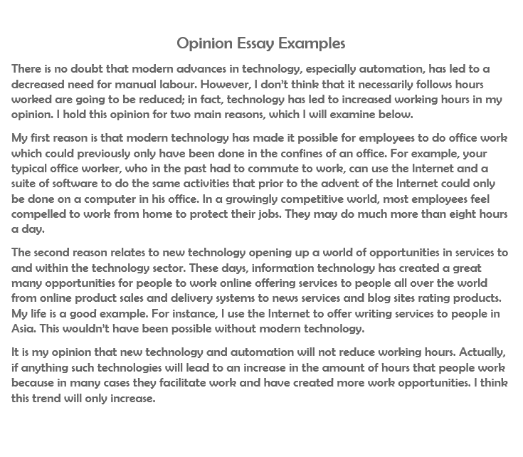 opinion essay examples